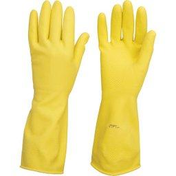 Luva de látex tamanho G cor amarela antiderrapante com forro