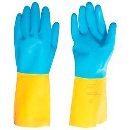 Luva de Látex/Neoprene M Amarela e Azul LNV 200