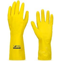 Luva Multiuso Látex Standard Amarelo com Forro - Pequena