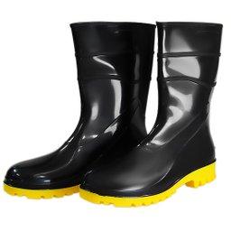 Bota Impermeável de PVC Acqua Flex Cano Curto Preto com Solado Amarelo N°41