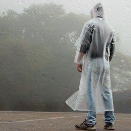 Capa de Chuva PVC Laminado Transparente com Capuz e Manga sem Forro - G