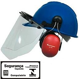 Capacete Evolution Azul com Protetor Facial e Abafador CG 108