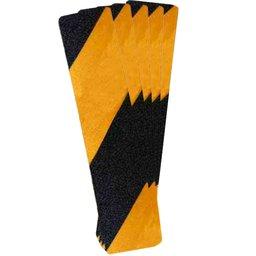 Fita Antiderrapante Preta e Amarela 300mm x 65mm com 5 Folhas