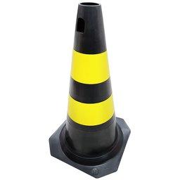 Cone PLT para Sinalização Preto com Amarelo 50cm