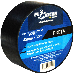 Fita de Demarcação PVC Preto 48mm x 30m