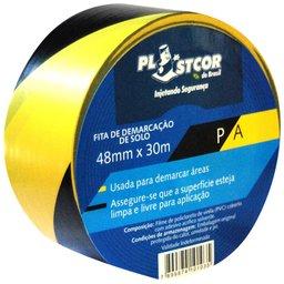 Fita de Demarcação PVC Preto com Amarelo 48mm x 30m