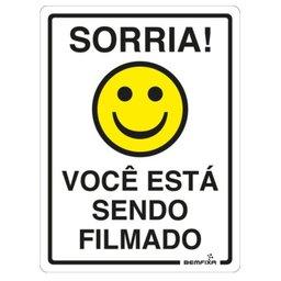 Placa Sinalizadora Sorria Você Está Sendo Filmado 15 x 20 cm