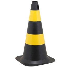 Cone de Sinalização 50cm Preto E Amarelo