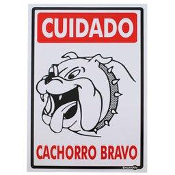 Placa Sinalizadora Cuidado Cachorro Bravo