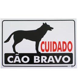 Placa Sinalizadora Cuidado Cão Bravo