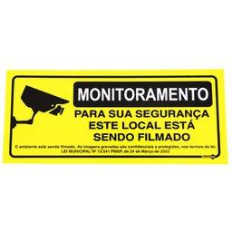 Placa Sinalização Monitoramento com Lei Municipal