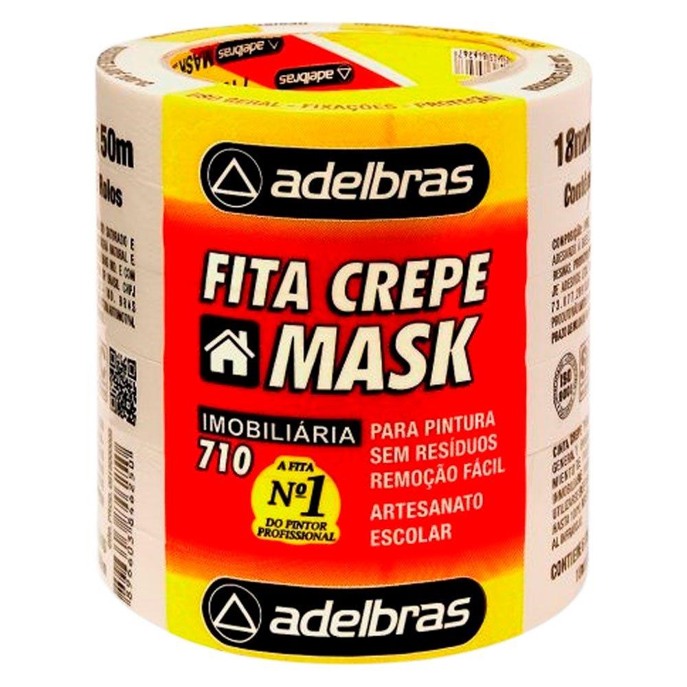 Fita Crepe 18mm x 50 metros Mask Uso Geral com 6 Unidades