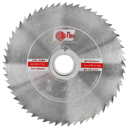 Disco de Serra Circular Aço Carbono 4.3/8 Pol. com 60 Dentes para Madeira