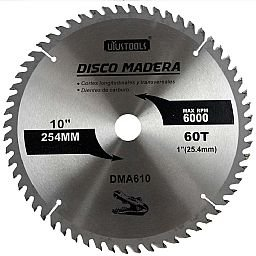 Disco de Serra Circular de 10 Pol. para Madeira - 60 Dentes