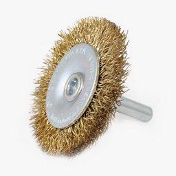 Escova Circular Arame Ondulado com Haste - Fio 0,3mm 2 Pol.