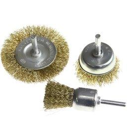 Conjunto Escova de Aço para Furadeira 3 Peças com Encaixe 1/4 Pol.