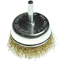 Escova de Aço tipo Copo com Haste Fio Reto 3 Pol.