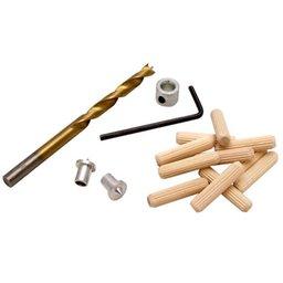 Conjunto de Cavilhas, Broca, Limitador e Centralizadores de 6mm
