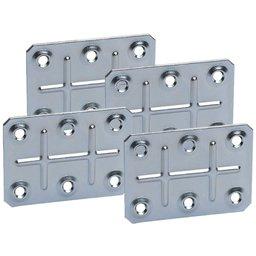 Placa Conectora Retangular 70 x 50 x 1 mm com 4 Peças e 16 Parafusos