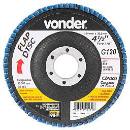 Disco de Desbaste/Acabamento Flap Disc Cônico 4.1/2 Pol. Grão 120 Costado de Fibra