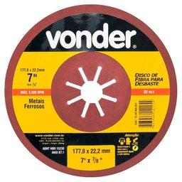 Disco de Fibra para Desbaste de Metais Ferrosos 7 Pol. Grão 40