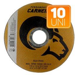 Kit com 10 Discos de Corte de Aço Inox 4.1/2 Pol.