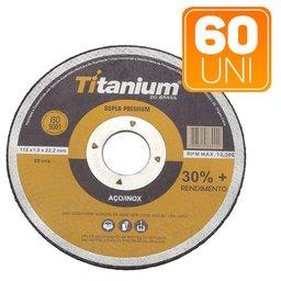 Kit 60 Discos de Corte Fino 4.1/2 Pol. Super Premium Titanium 5047