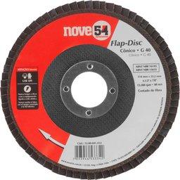 Disco de desbaste/acabamento flap-disc cônico 4.1/2 Pol. grão 40 costado de fibra NOVE54