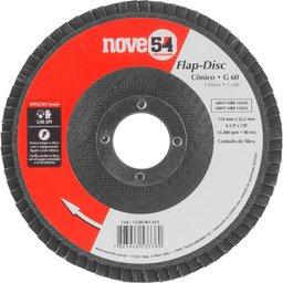 Disco de desbaste/acabamento flap-disc cônico 4.1/2 Pol. grão 60 costado de fibra NOVE54