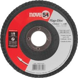 Disco de desbaste/acabamento flap-disc cônico 4.1/2 Pol. grão 120 costado de fibra NOVE54