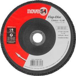 Disco de desbaste/acabamento flap-disc cônico 7 Pol. grão 40 costado de fibra NOVE54