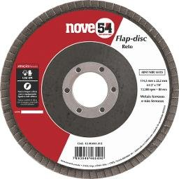 Disco de desbaste/acabamento flap-disc reto 4.1/2 Pol. grão 120 costado de fibra NOVE54