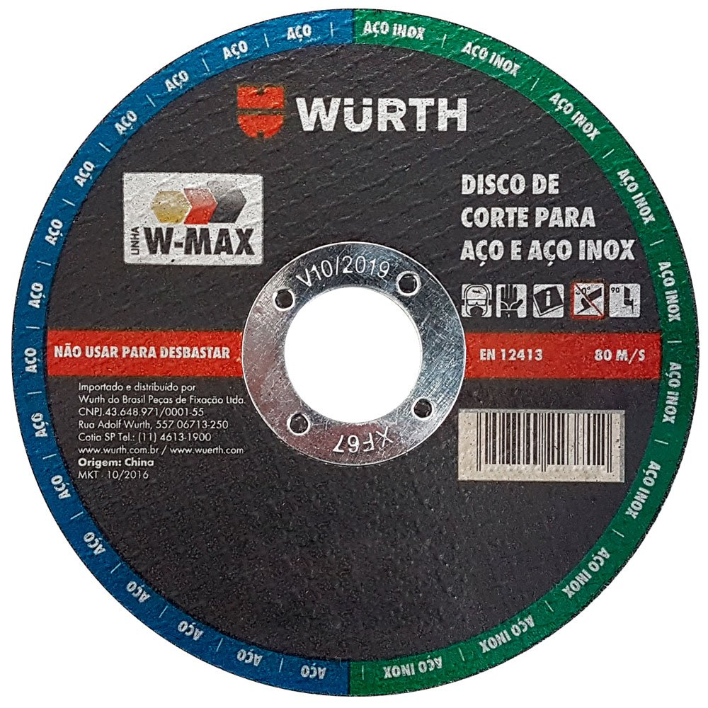 Disco de Corte 4.1/2 Pol. para Aço e Aço Inox