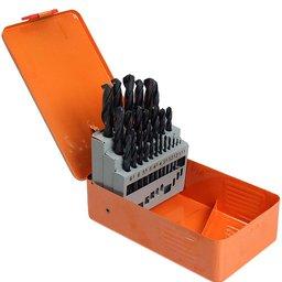 Jogo de Brocas HSS Aço Rápido com 25 peças de 1 a 13 mm