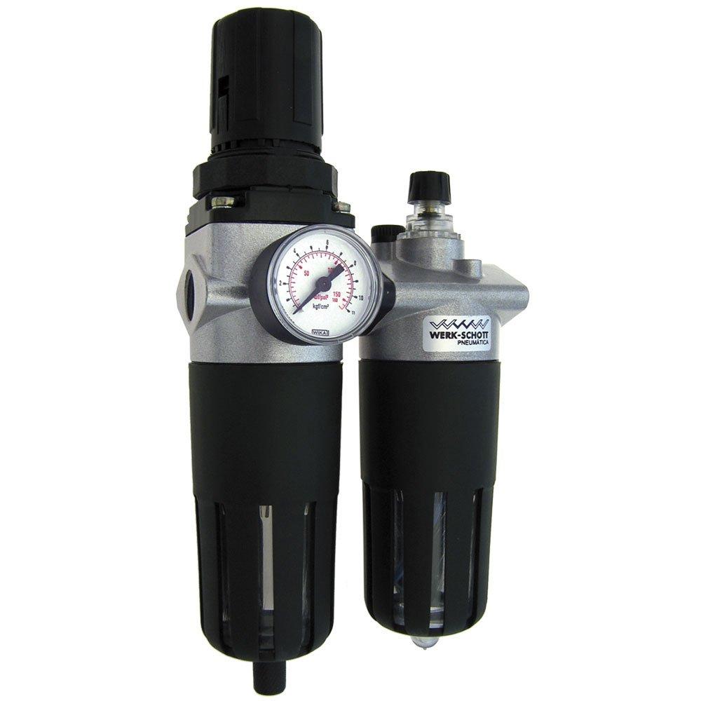 Conjunto Médio Filtro Regulador Ar e Lubrificador 1/2Pol. com Suporte