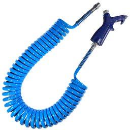 Kit com Mangueira Espiral Azul 5,5 x 8 mm 5 Metros e Bico de Limpeza