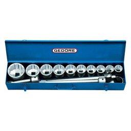 Jogo de Soquetes Estriados 36 à 80mm e Acessórios Encaixe 1 Pol. com 14 Peças