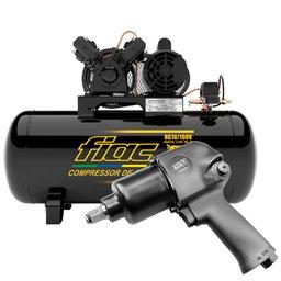 Kit Compressor de Ar FIAC-8975703021 Bulldog 2HP 100 Litros Mono + Chave Parafusadeira de Impacto 1/2 Pol.