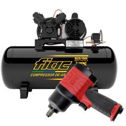Kit Compressor de Ar FIAC-8975703021 Bulldog 2HP 100 Litros Mono + Chave Parafusadeira Duplo Martelete 1/2 Pol.