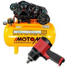 Kit Compressor Air Power MOTOMIL-CMV-15PL/150 15 Pés Bivolt Mono + Chave Parafusadeira Duplo Martelete 1/2 Pol.