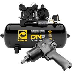 Kit Compressor de Ar Ônix Pro PRESSURE-ONP-10/100-VM 10 Pés Bivolt Mono + Chave Parafusadeira de Impacto 1/2 Pol.