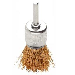 Escova Tipo Pincel de Arame Ondulado Latonado 5/8 x 1/4 Pol.