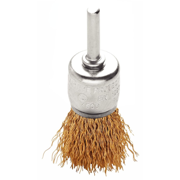 Escova Tipo Pincel de Arame Ondulado Latonado 1 x 1/4 Pol.