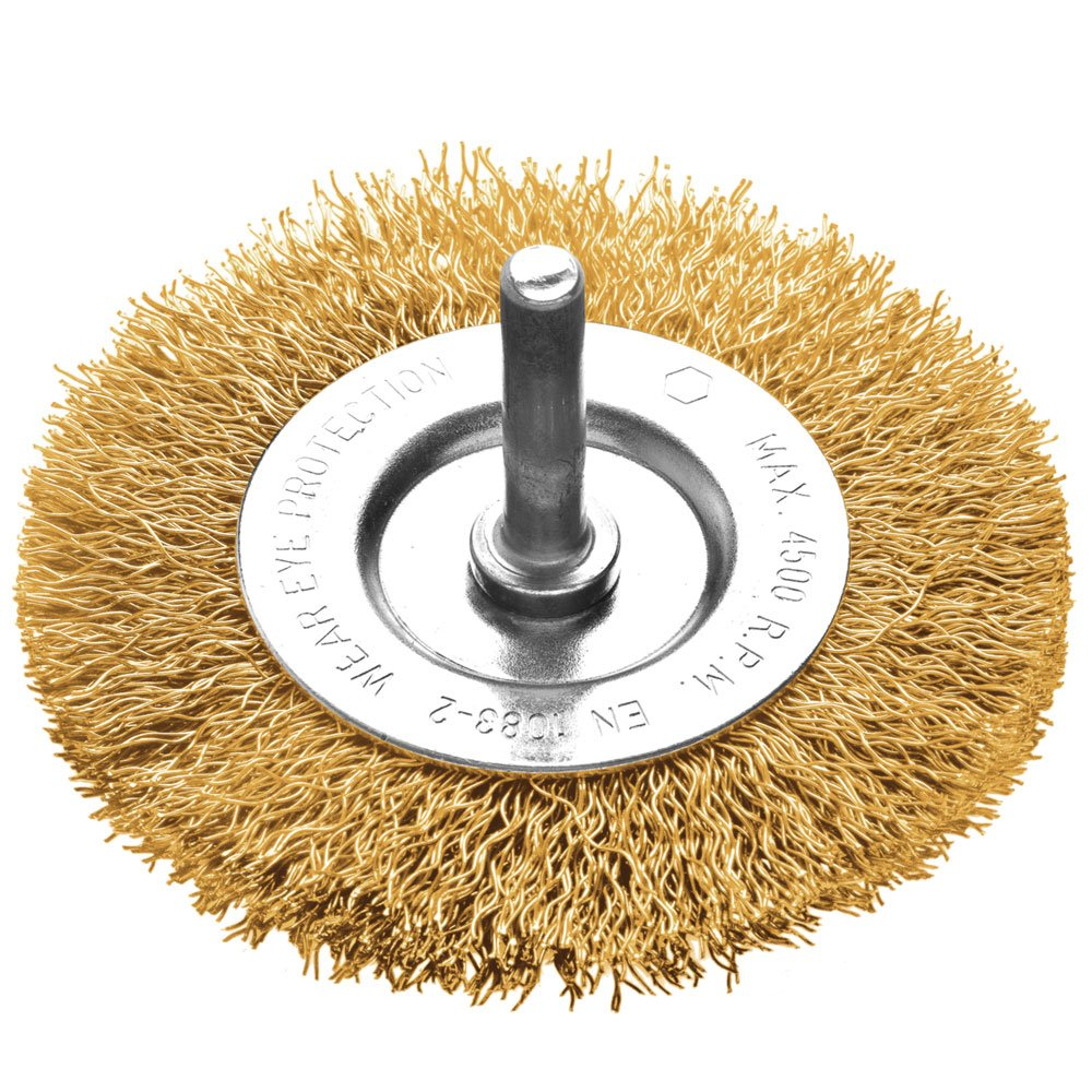 Escova Circular Arame Ondulado Latonado 3 x 1/4 Pol.