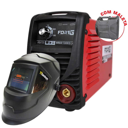 Kit Máquina de Solda Inversora FORTGPRO FG4125 MMA130ED 130A  + Máscara de Solda Automática TITANIUM 5242