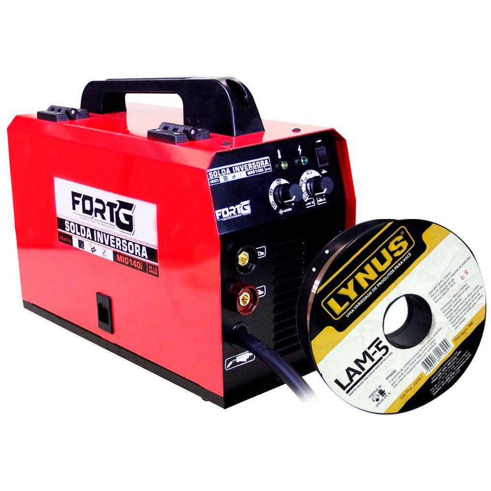 Kit Máquina de Solda FORTGPRO FG4512 Multifuncional MIG140i MMA e MIG/MAG + Rolo Arame de Solda LYNUS LAM-5 5Kg