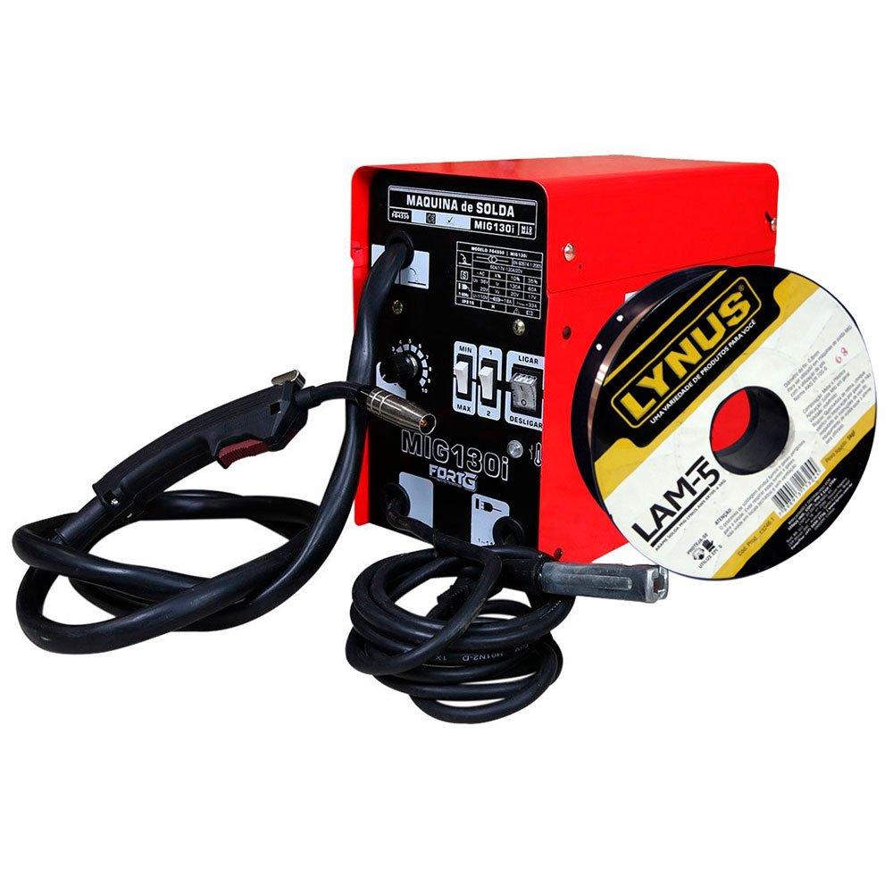Kit Máquina de Solda FORTGPRO FG4550 MIG130i MIG/MAG + Rolo Arame de Solda LYNUS LAM-5 5Kg