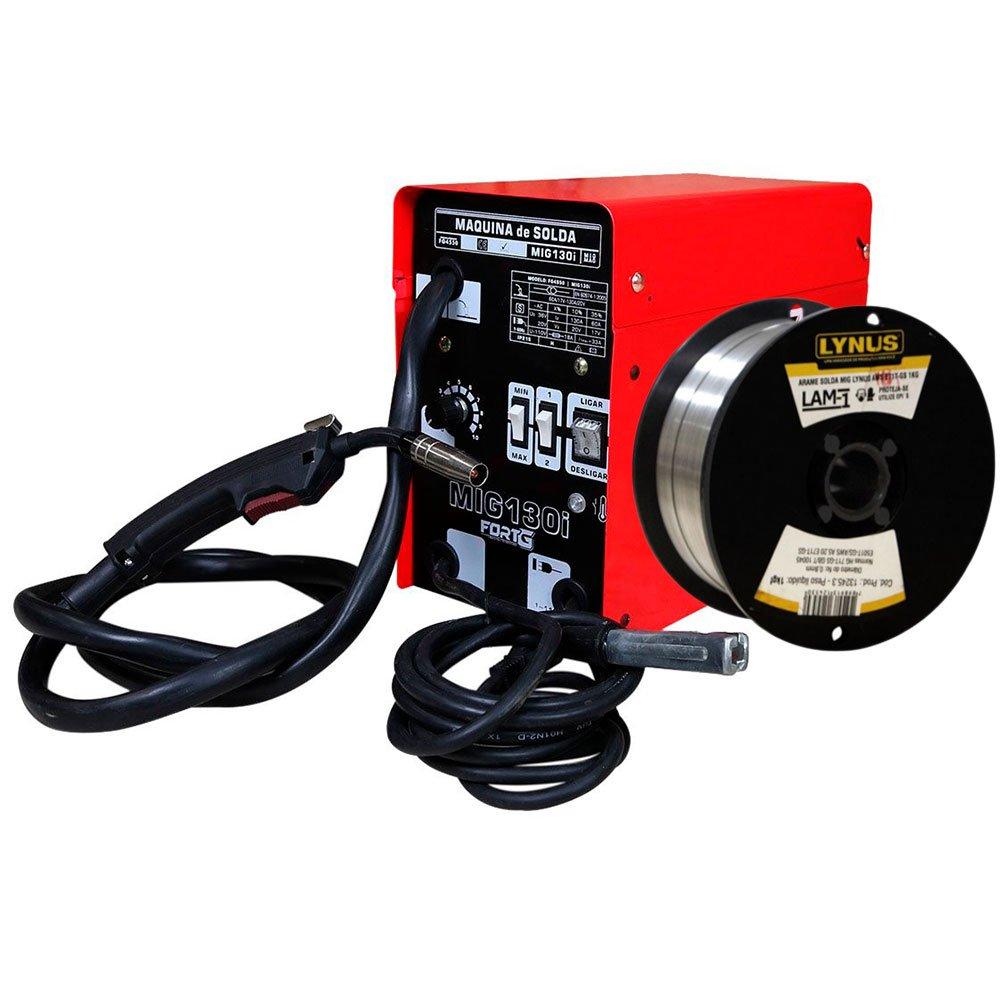 Kit Máquina de Solda FORTGPRO FG4550 MIG130i MIG/MAG + Rolo Arame de Solda LYNUS LAM-1 1Kg