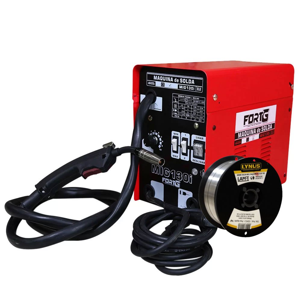 Kit Máquina de Solda FORTGPRO FG4540 MIG130i MIG + Rolo Arame de Solda LYNUS LAM-1 0,8mm 1Kg