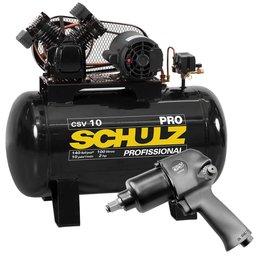 Kit Compressor de Ar SCHULZ PROCSV10/100 110V 10 Pés 100L 2HP Mono + Chave Parafusadeira de Impacto 1/2 Pol. 79,6Kgfm FORTGPRO FG3300